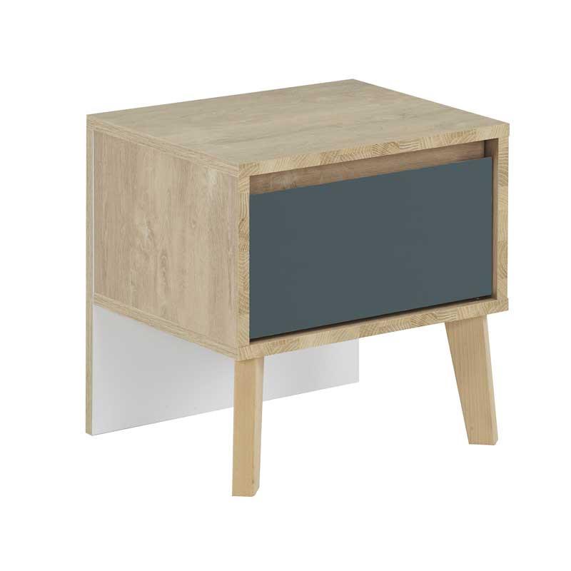 Table de chevet 1 tiroir Chêne blond/Bleu - ESMEY