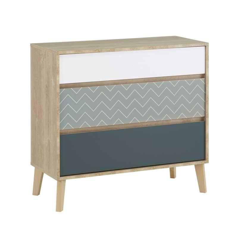Commode 3 tiroirs Chêne blond/Bleu/Blanc - ESMEY