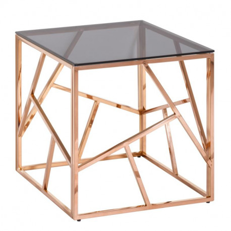 Table d'appoint Gris/Or Rose - ROZOWY