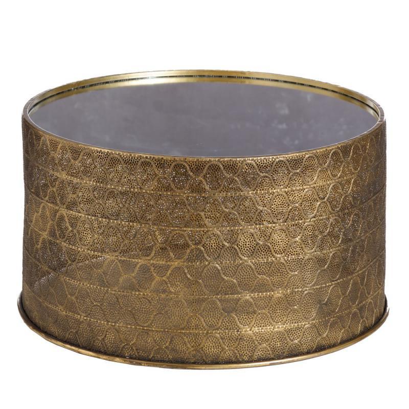 Table d'appoint ronde doré Métal/Miroir - ZOSTA