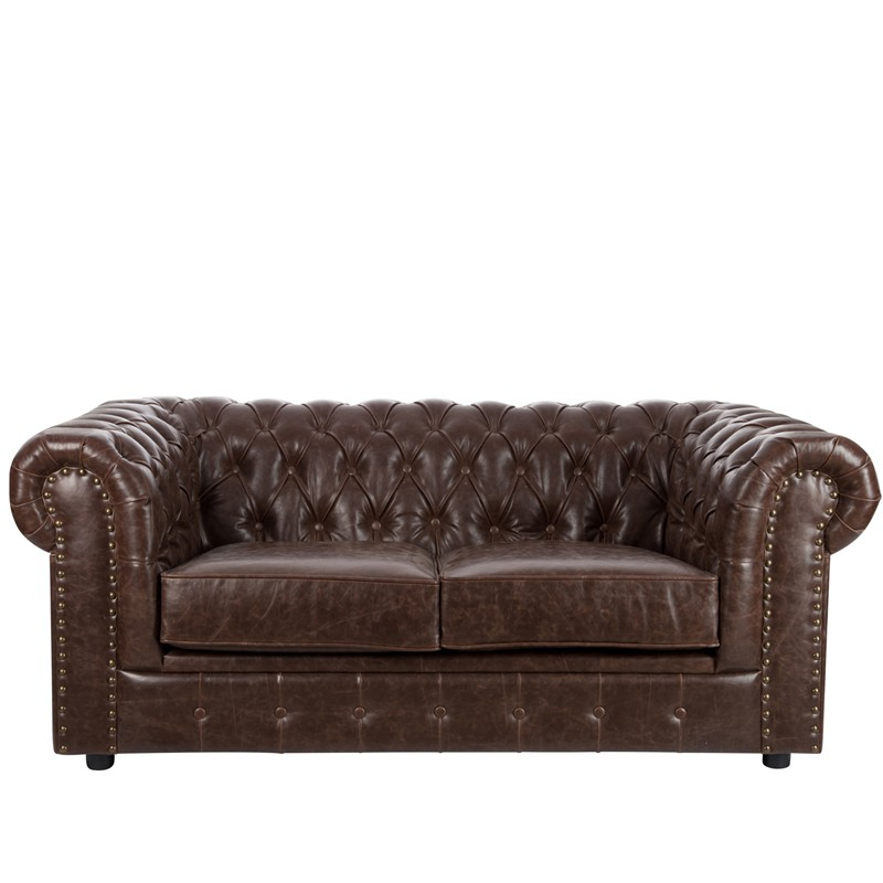 Canap chesterfield 2 places simili cuir boston univers du salon tousmesmeubles - Canape 2 places simili cuir ...
