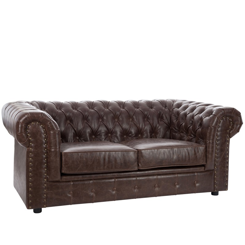 Canap chesterfield 2 places simili cuir boston univers du salon tousmesm - Canape chesterfield convertible 2 places ...