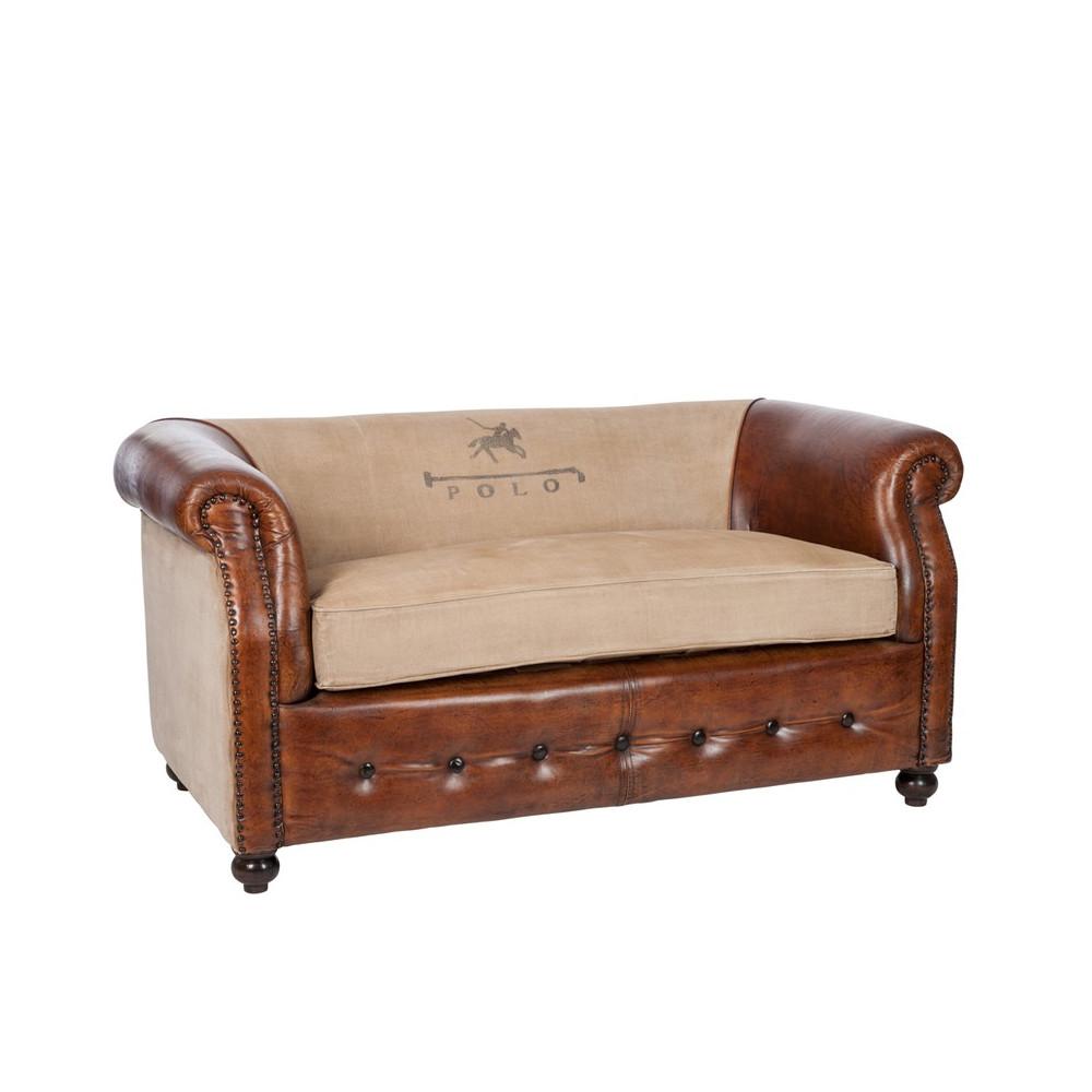 Canapé 2 places Cuir et Coton POLO Univers du Salon Tousmesmeubles