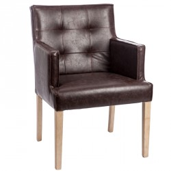 Chaise capitonnée avec accoudoirs Marron - SCOTTY