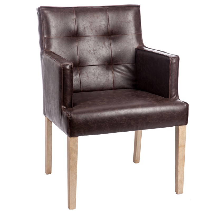 Chaise capitonn e avec accoudoirs marron scotty univers for Chaise de salle a manger avec accoudoir