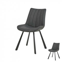 Duo de Chaises Simili cuir anthracite - AGUILAR