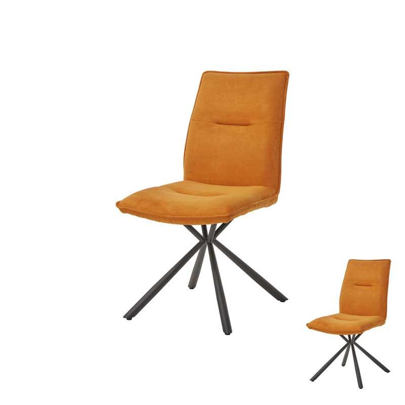 Duo de Chaises Tissu orange/Métal - ALIX
