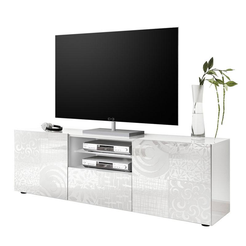 Meuble TV 2 portes 1 tiroir Laqué Blanc brillant - BARI