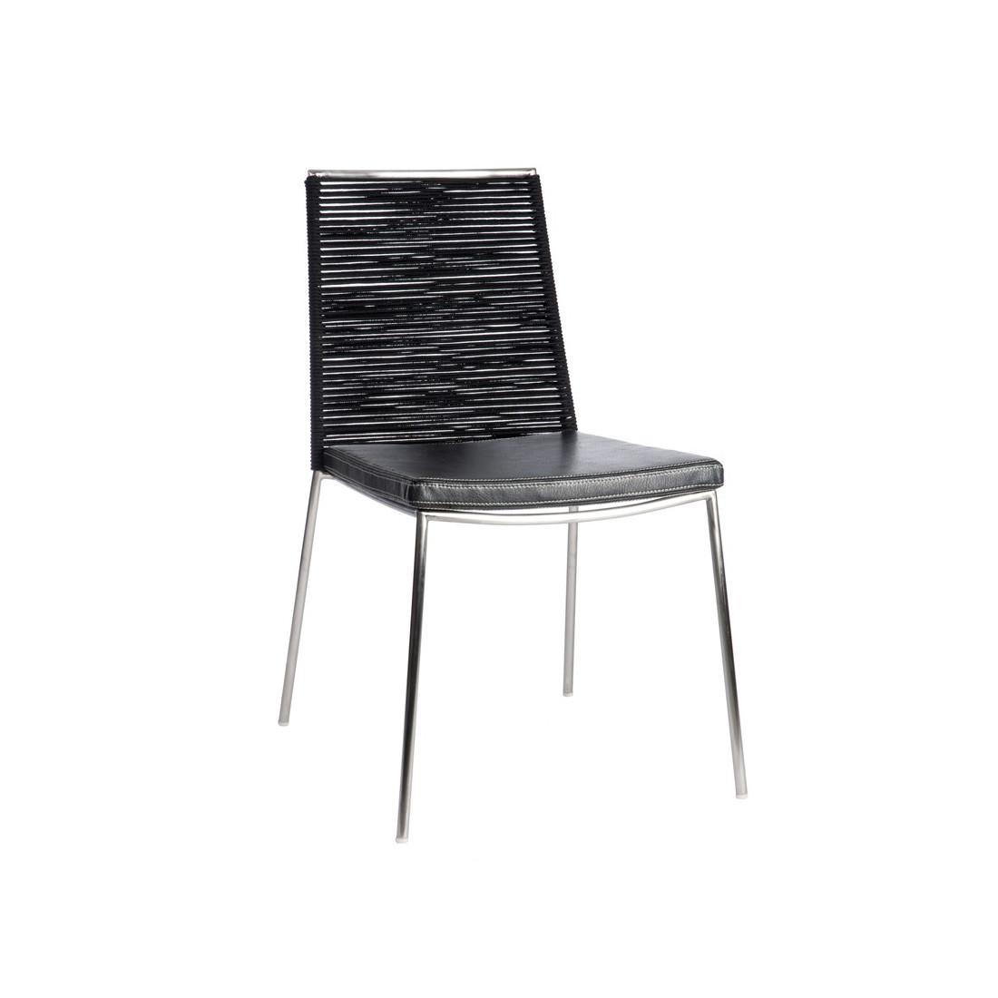Chaise cuir noir lucifer n 2 univers de la salle for Chaise cuir noir