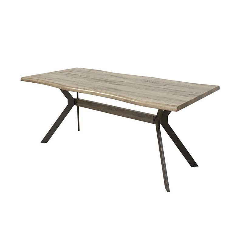 Table de repas rectangulaire 200 cm Bois naturel/Métal - CYRILLE