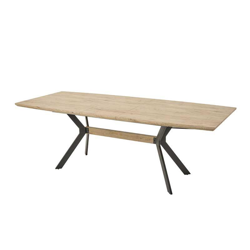 Table de repas à allonge Bois naturel/Métal - CYRILLE