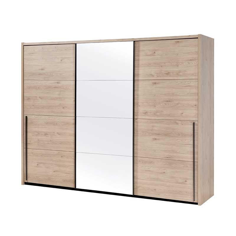 Armoire 3 portes coulissantes 280 cm Bois clair/miroir - ANAELLE