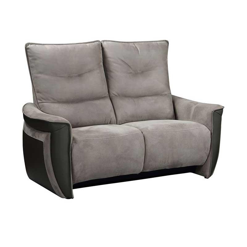 Canapé 2 places Relax Electrique Cuir/Tissu gris - ZEALAND