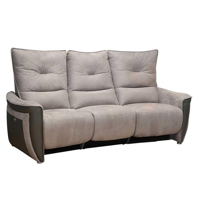 Canapé 3 places Relax Electrique Cuir/Tissu gris - ZEALAND