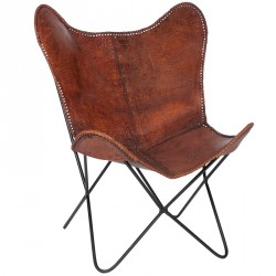 Chaise lounge cuir marron
