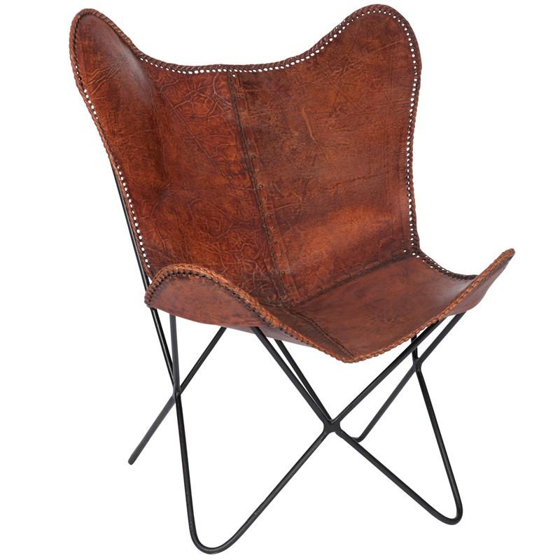 Chaise lounge Cuir Marron - JOLLY