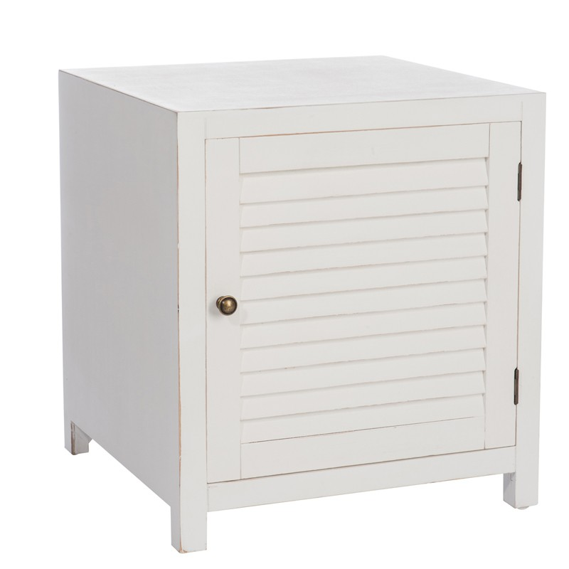Table de chevet en bois blanc boudebois univers de la chambre tousmesmeubles - Table de chevet cuir blanc ...