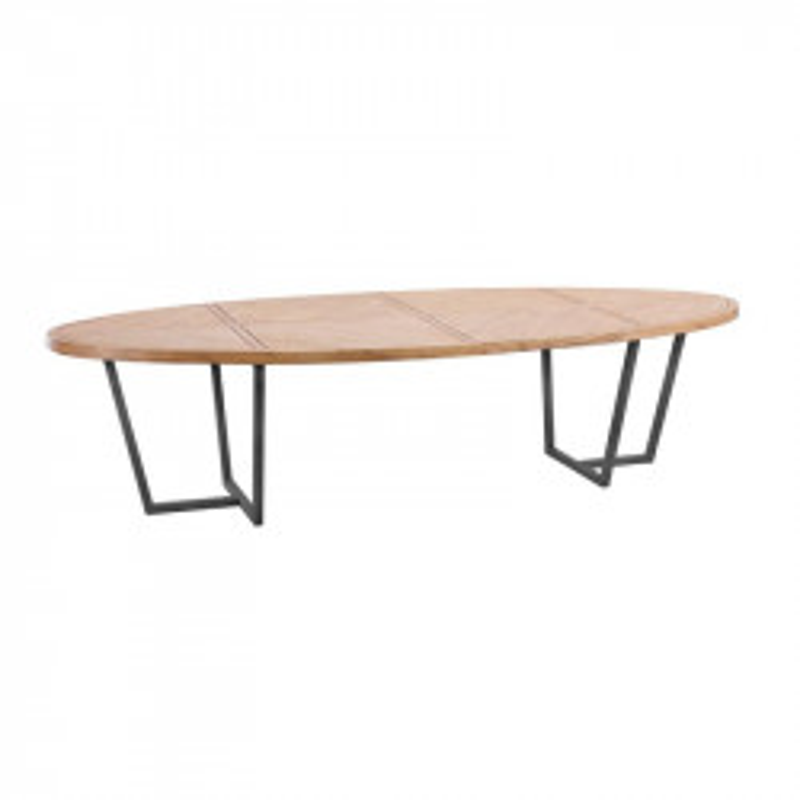 Table de repas ovale 200 cm Bois clair/Métal - OUJDA