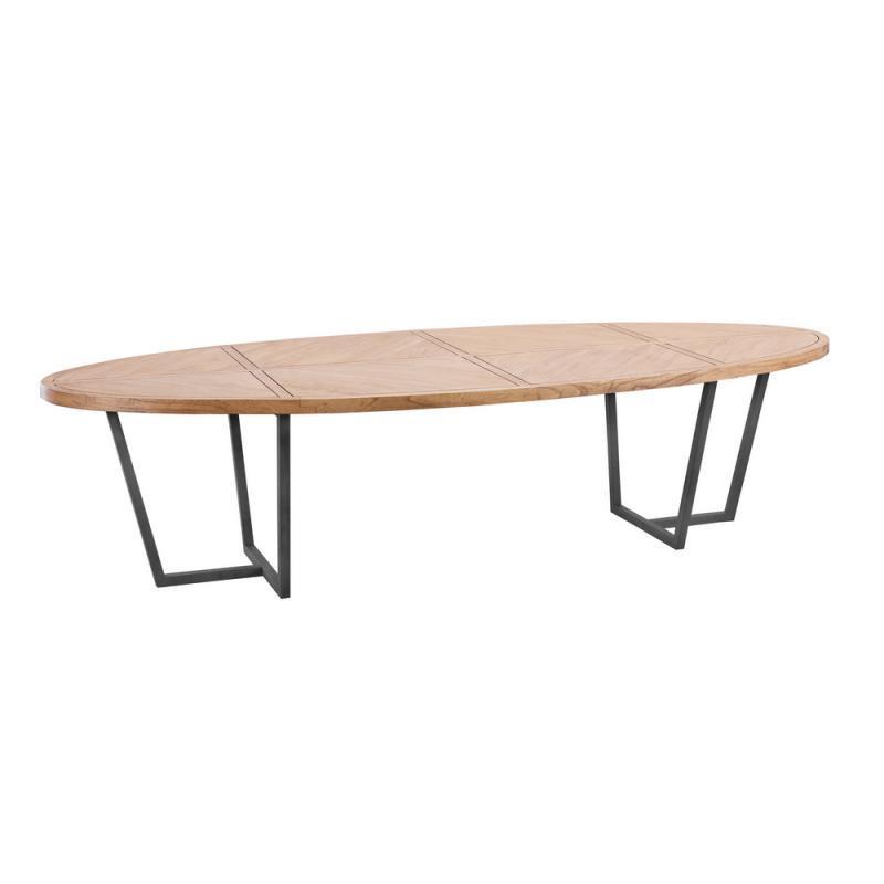 Table de repas ovale 300 cm Bois clair/Métal - OUJDA