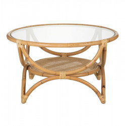 Table basse ronde Rotin/Verre - ASILA