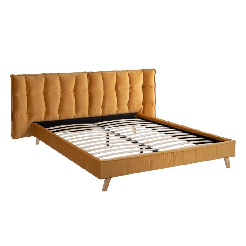 Cadre + Tête de lit 160*200 Tissu ocre - ALBORG