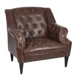 Fauteuil Chesterfield Simili Cuir - BOSTON