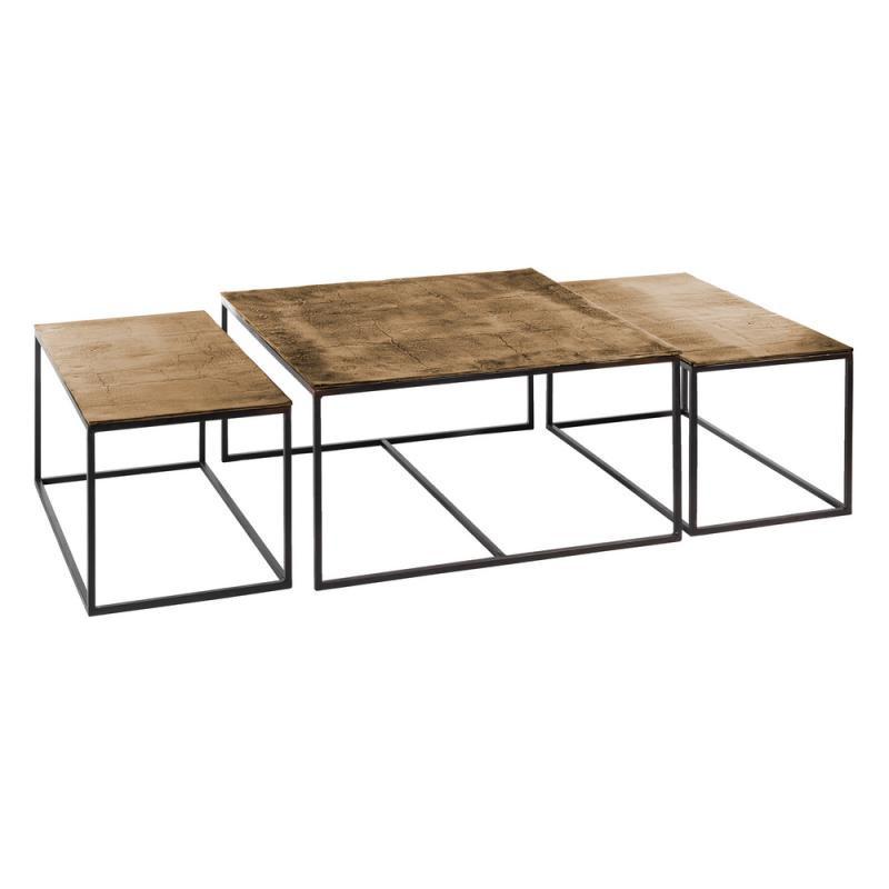 Trio de Tables gigognes carrées Métal/Doré vieilli - OSAKA