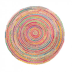 Tapis rond multicolore Jute naturel 120*120 - KOBE