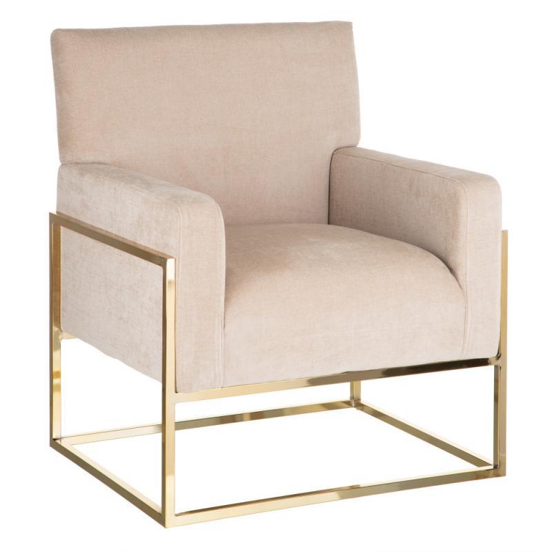 Fauteuil Métal doré/Tissu beige - NOFOA