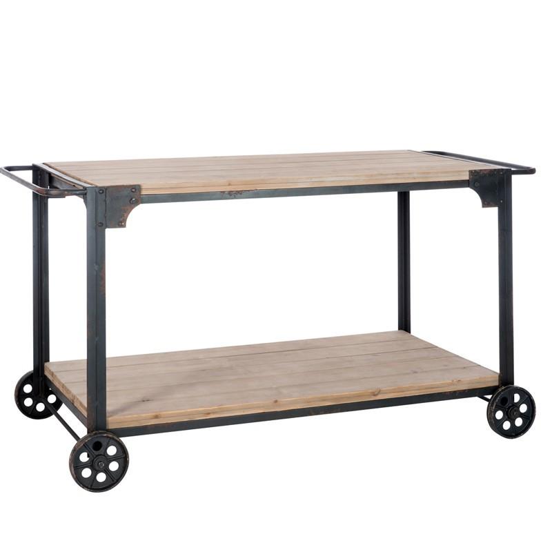 Table d'appoint sur roues Bois et Métal - DOCK