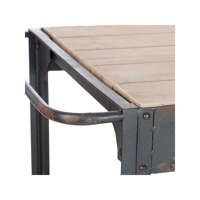 Table d 39 appoint sur roues bois et m tal dock univers for Table d appoint moderne