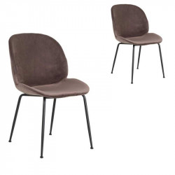 Duo de Chaises Métal/Velours marron - TURNO