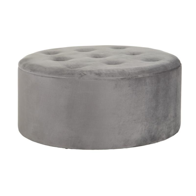 Pouf coffre rond Tissu capitonné gris - CHULIO