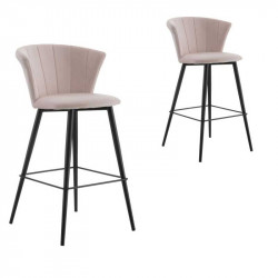 Duo de Chaises de bar arrondies Velours rose clair - BOLUP