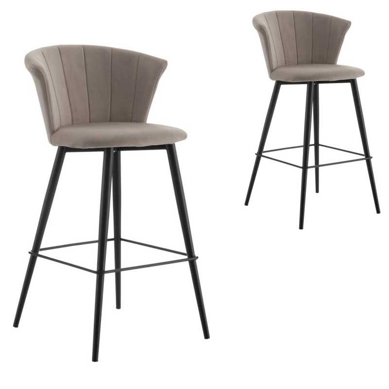 Duo de Chaises de bar arrondies Velours gris - BOLUP