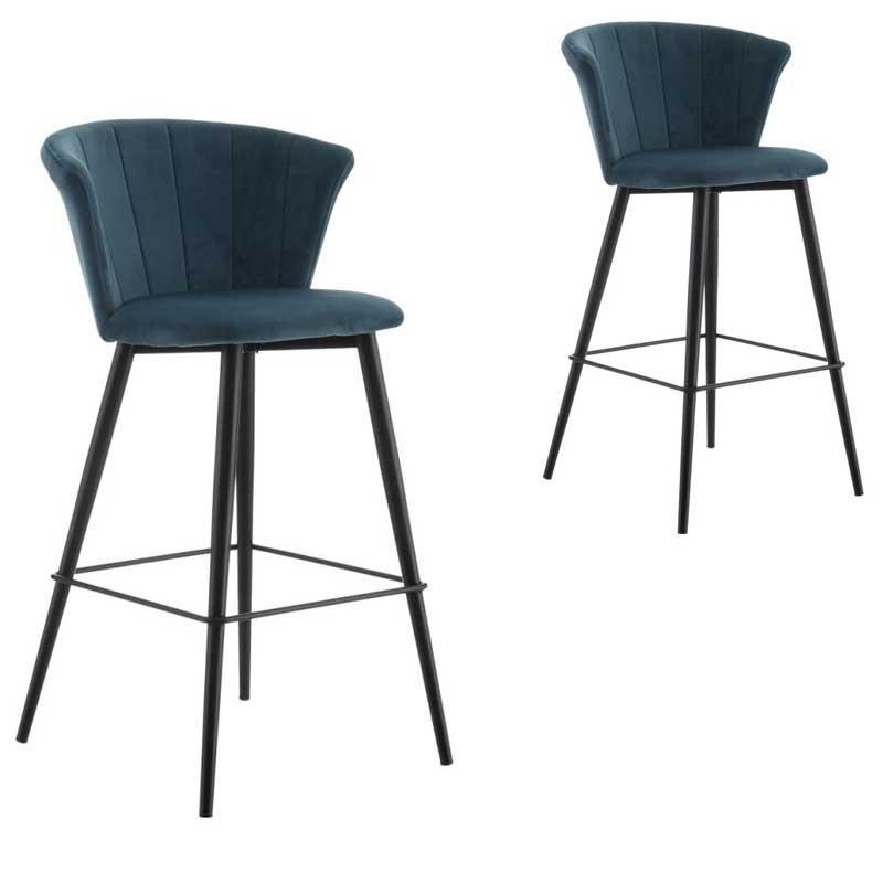 Duo de Chaises de bar arrondies Velours bleu - BOLUP