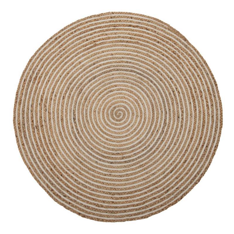Tapis rond Jute naturel spirale blanche 120*120 - PEALE