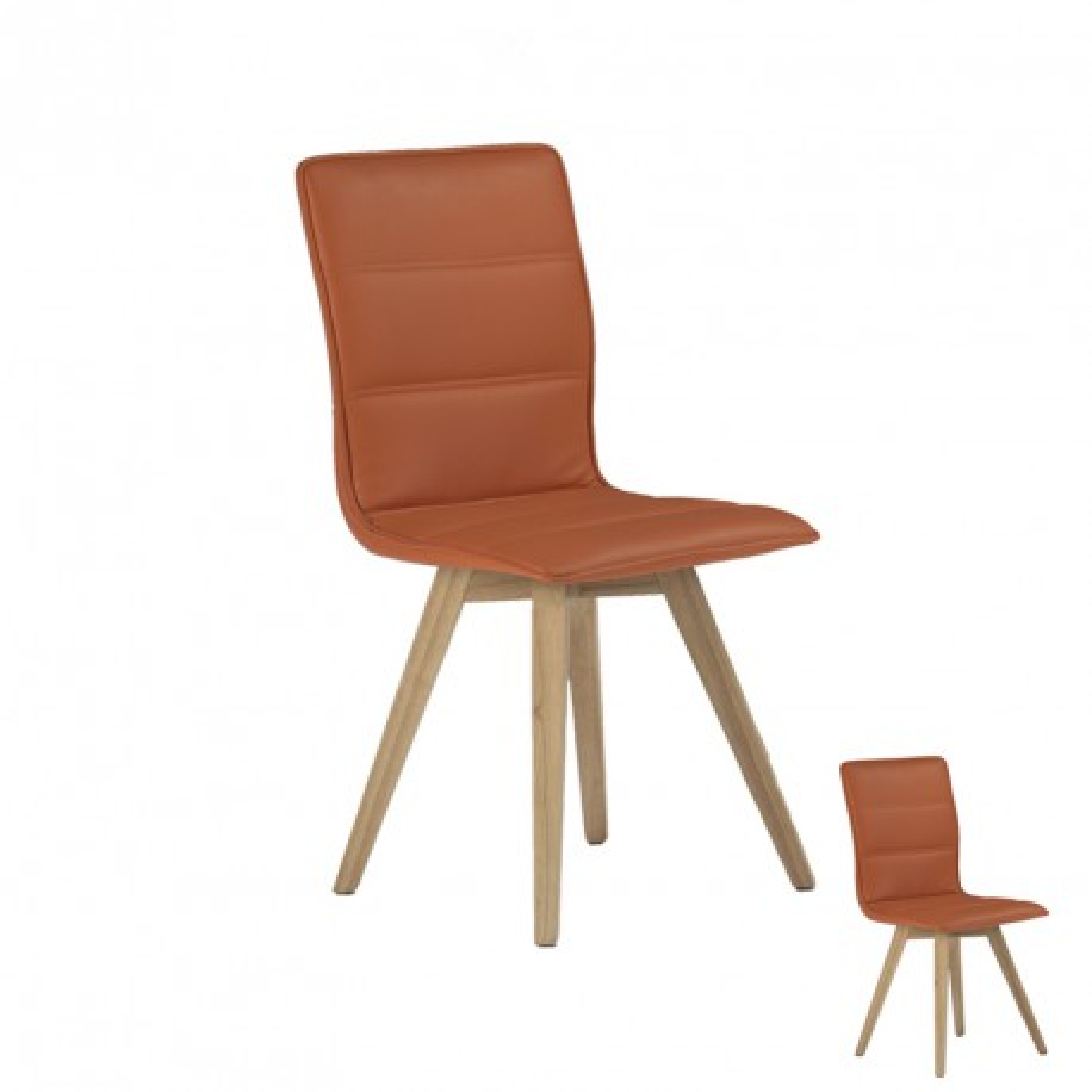 Duo de chaises simili cuir Orange - KANO