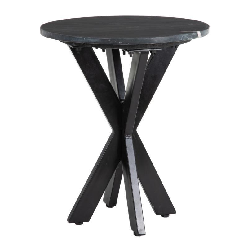 Table d'appoint ronde Métal/Marbre noir - VIVIONE