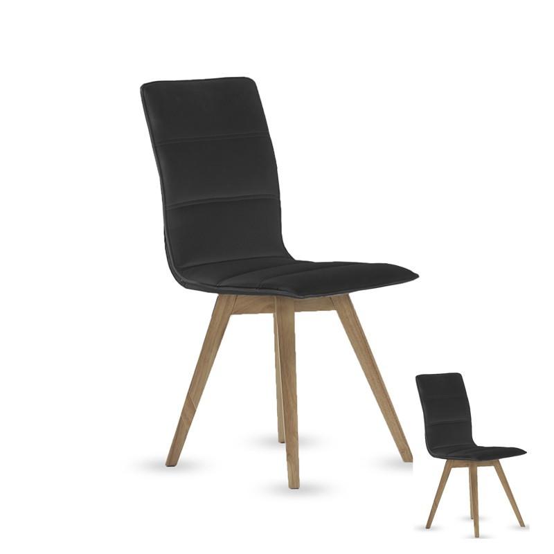 Duo de chaises simili cuir Noires - KANO