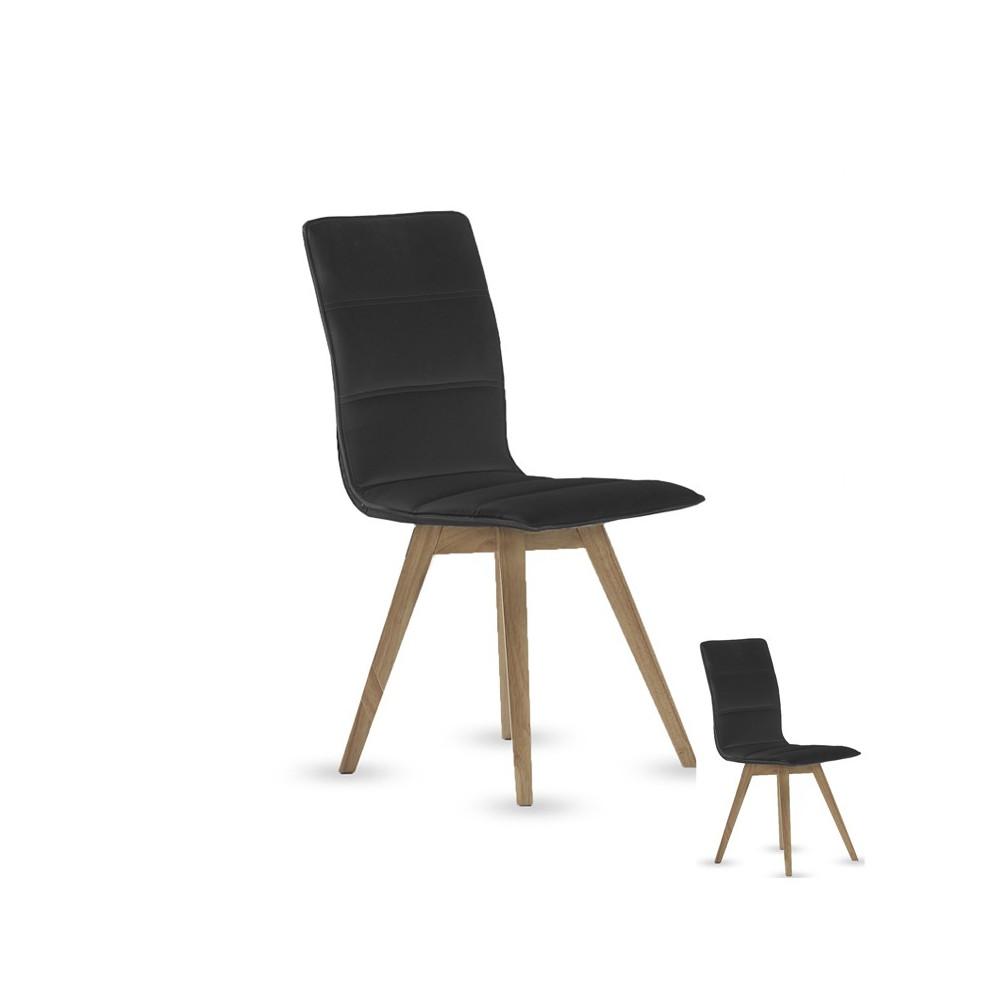 Quatuor de chaise simili cuir Noir KANO