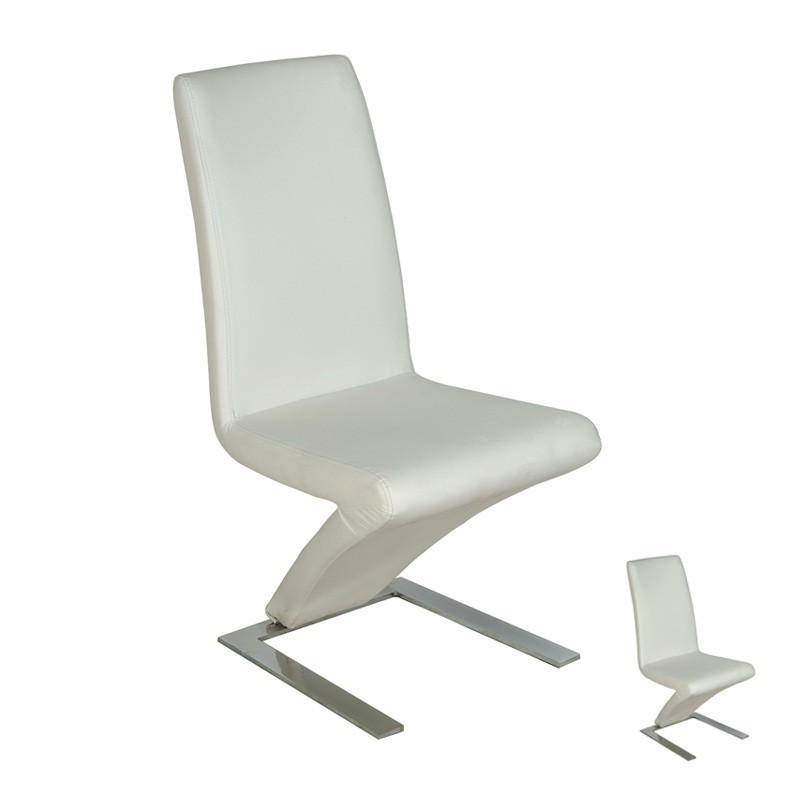 Duo de chaises blanches zaia univers salle manger for Chaise cuir blanc