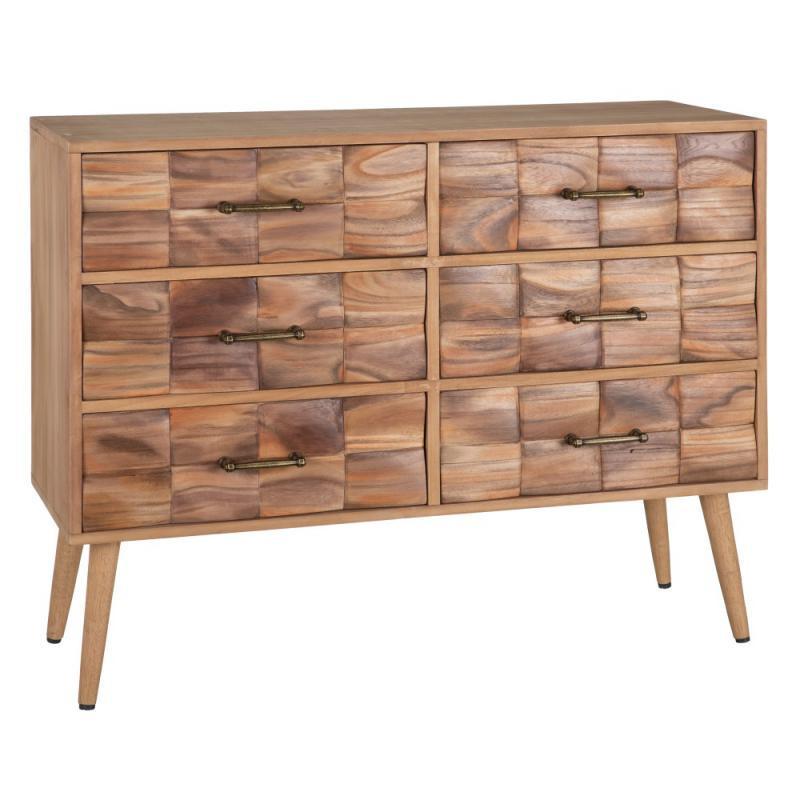 Commode 6 tiroirs Bois à reliefs - MATAMA