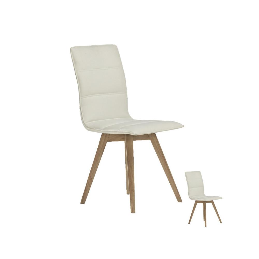 Quatuor de chaises simili cuir Blanc KANO