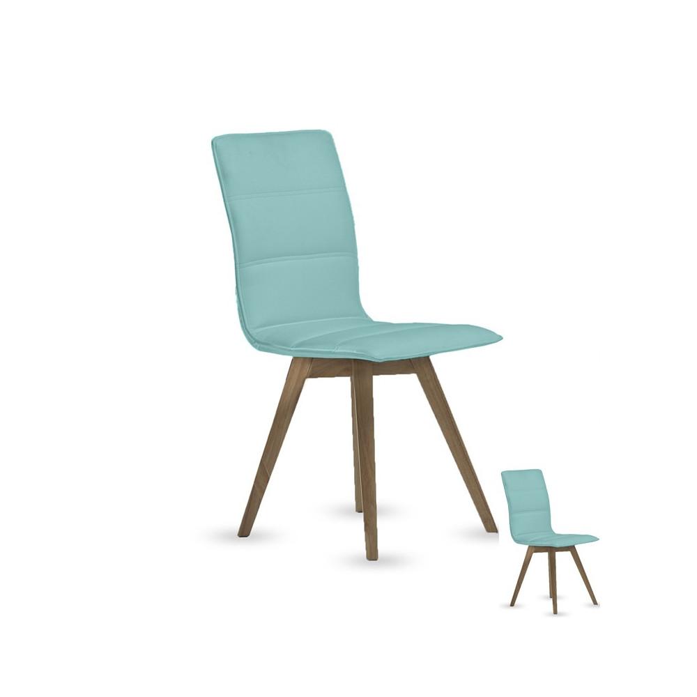 Quatuor de chaises simili cuir Turquoise KANO