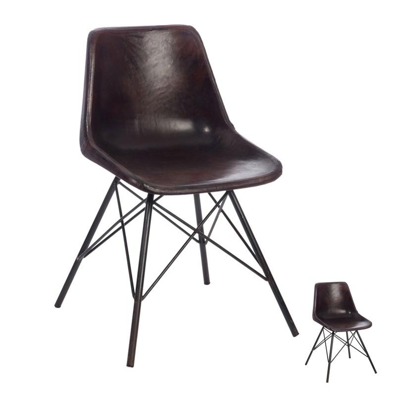 Duo de chaises Cuir Marron foncé - RYTA