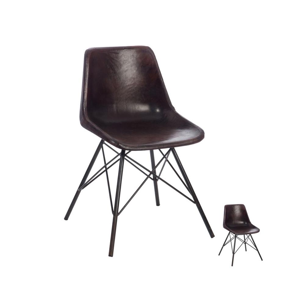 duo de chaises cuir marron fonc ryta - Chaise Cuir Noir