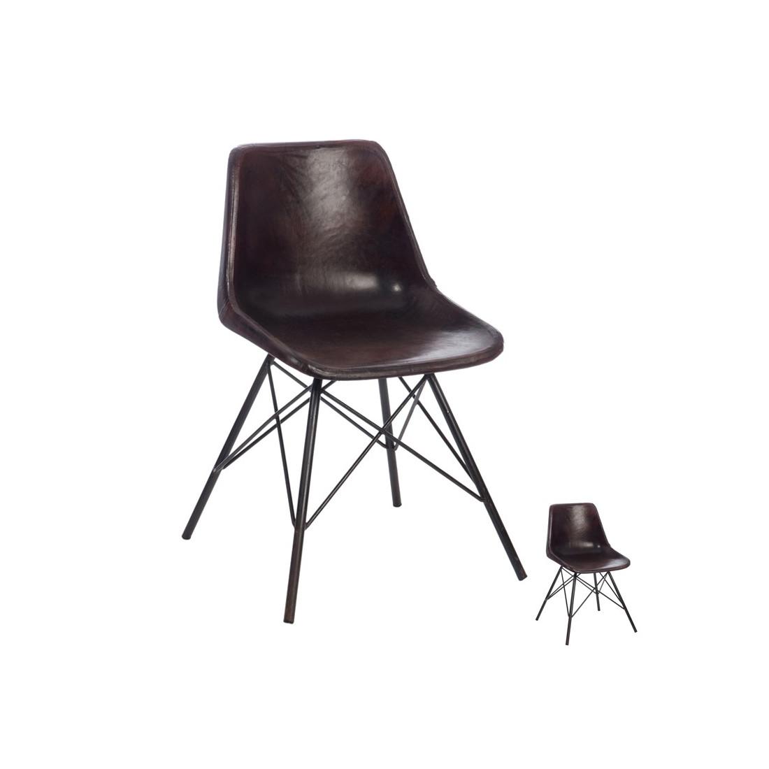 Duo de chaises metal cuir noir ryta univers salle for Chaise cuir marron