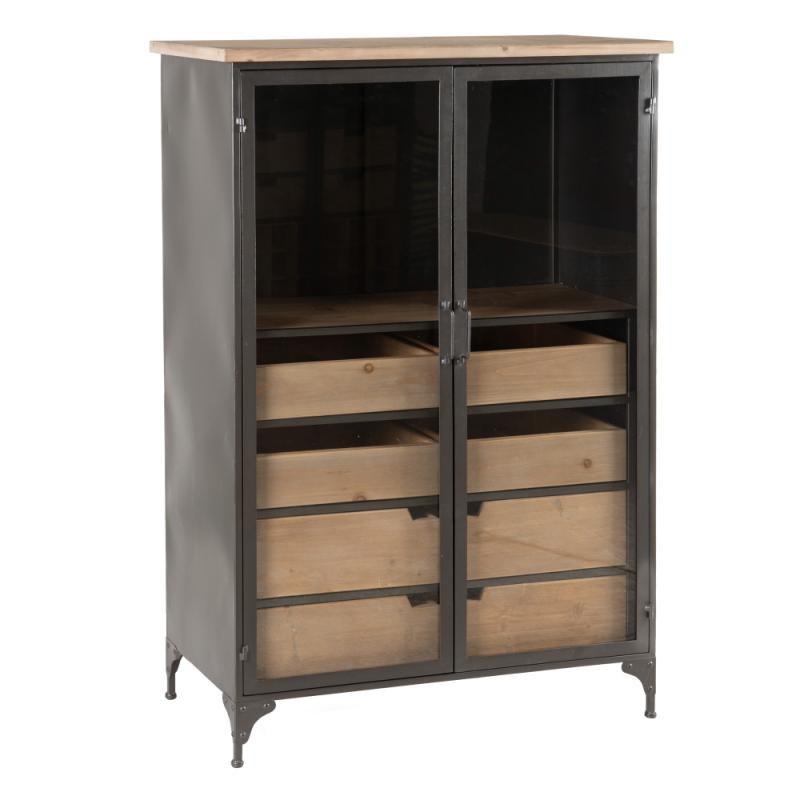 Vitrine haute 2 portes à tiroirs Métal/Bois - LALOP