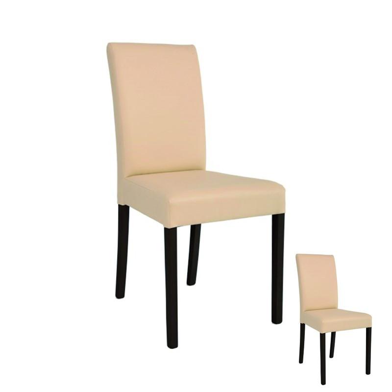 Duo de chaises Simili Cuir Beige - SONIA